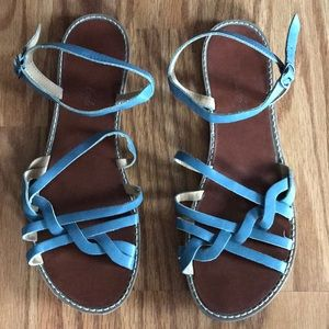 Size 10 light blue buckle sandals great condition